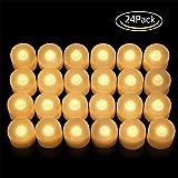 LED Velas, 24 Unidades sin Llama Velas LED Velas de té, Velas LED Sin Llama con Baterías para Navidad,Restaurante,Cumpleaños, Bar, Decoración(Diámetro 3.7 cm)