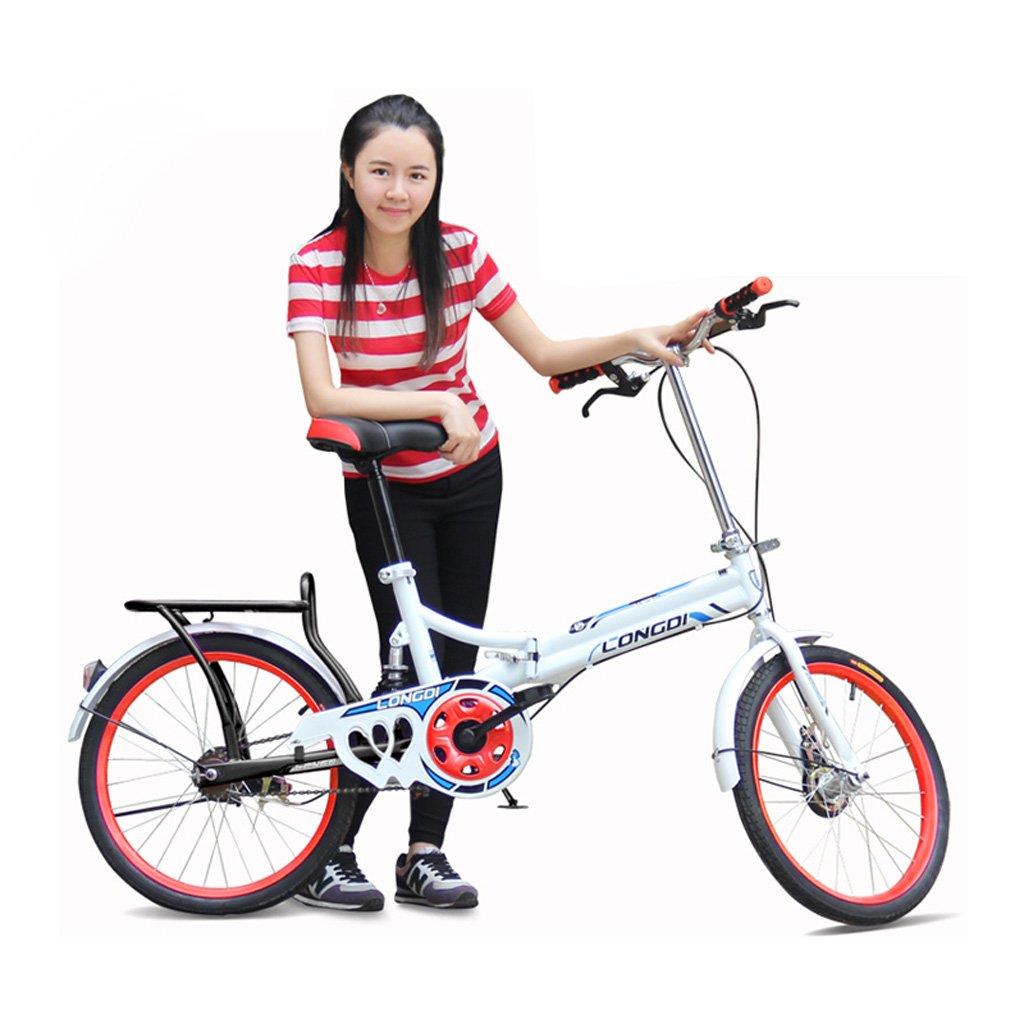 自転車成人男性と女性20インチ自転車高炭素鋼折りたたみ自転車学生自転車、白青/黒白/赤/ピンク白/白緑 (Color : Black White Red) B07CZB99FD