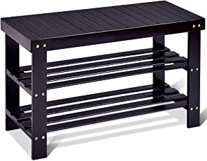 GOFLAME Shoe Bench Rack, 2-Tier Bamboo Seat Storage Shelf, Free Standing Shoe Storage Bench with Stylish and Modern Design, Shoe Organizer for Décor Entryway, Hallway, Living Room, Bathroom (Black)
