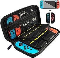 Nintendo Switch ケース 任天堂 スイッチ ケース ニンテンドースイッチ ケース ガラスフィルム/ソフトケース付き 外出や旅行用キャリングケース ナイロン素材 防塵、防汚、耐衝撃 ブラック