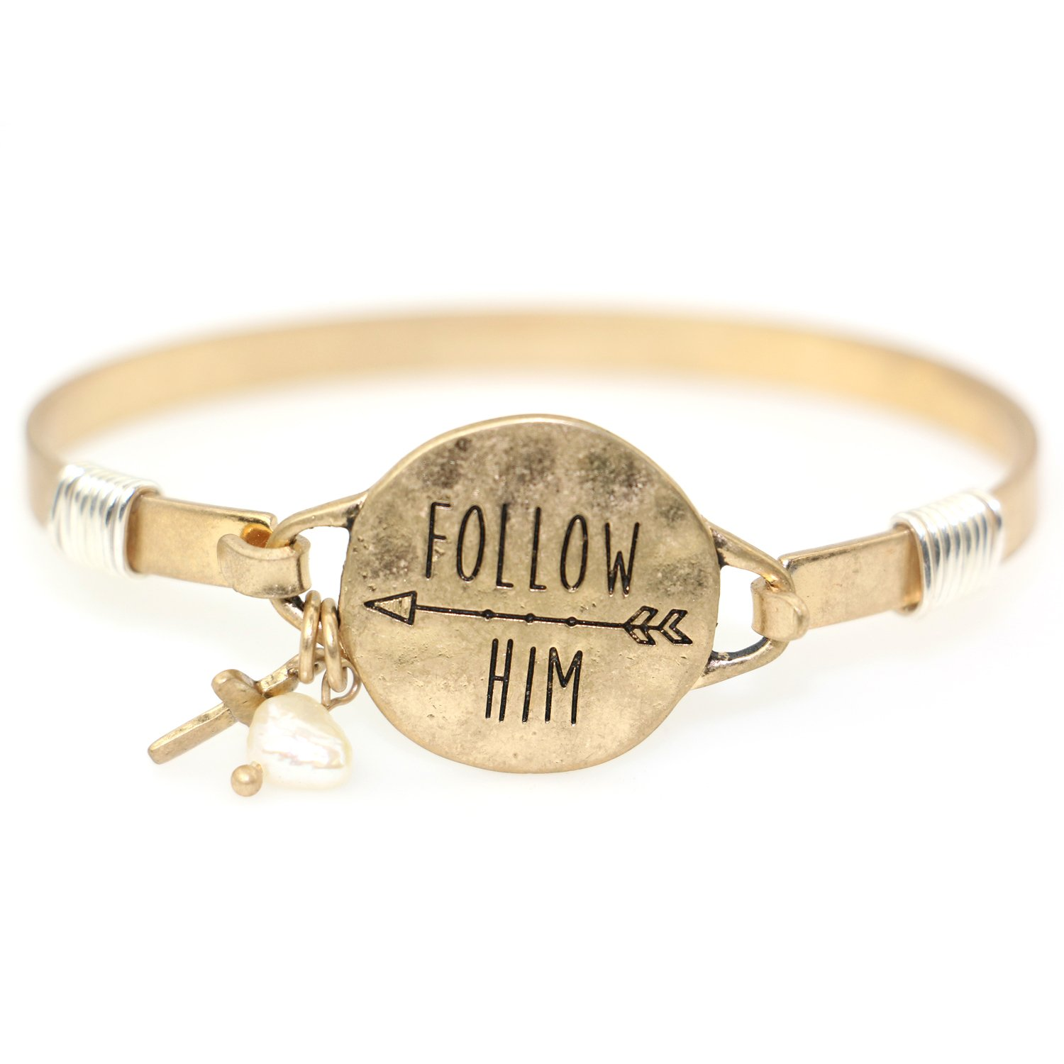 """Follow Him"" Christian Bangle Disc Bracelet with Wire Design and Cross Charm and Bead"