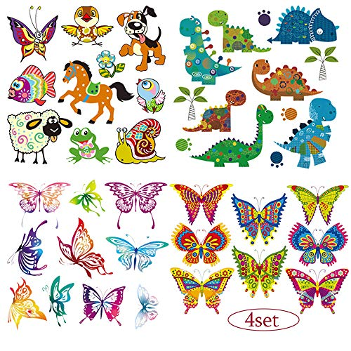 (Babies Iron on Patches Butterfly Dinosaur Applique Lovely Cartoon Animal Birds Flowers Heat Transfers Stickers for Kids Boys Girls T-Shirt Coat Clothes DIY 4 Set)
