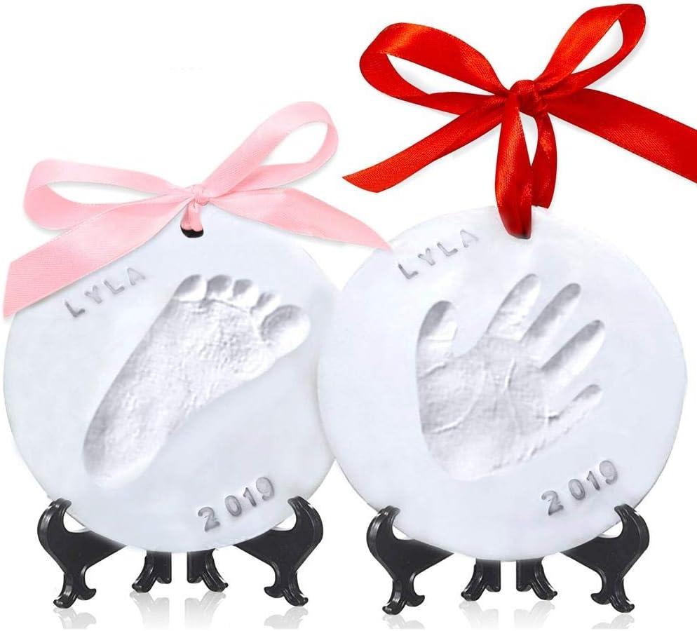 Kit de recuerdo de huella de bebé y adorno de huella - Personalizado para recién nacido - Vivero Arte de la memoria Caballete - Bebé Regalo de la ducha