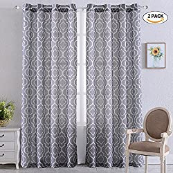 """Moroccan Linen Curtains, Textured Flax Lattice Print Curtains for Living Room Bedroom Window Sun-Shade, Grommet Treatment Drapes for Dressing-Room - 52"""" W x 84"""" L - (Grey, Set of 2 Panels)"""