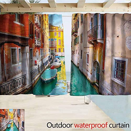 MaryMunger Rod Pocket Top Blackout Curtains/Drapes Venice Vibrant Canal Gondolas Outdoor Privacy Porch Curtains W55x72L Inches (Car Gondola Light Outdoor)