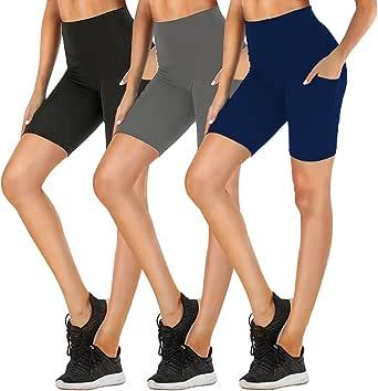 FULLSOFT Workout Shorts for Women High Waist Biker Yoga Running Exercise Non See-Through Shorts Leggings with Side Pockets