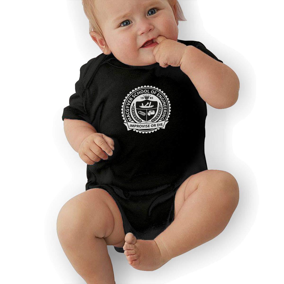 Clarise Kids Baby Short Sleeve Romper Macgyver School of Engineering Improvise Or Die Unisex Cotton Cute Jumpsuit