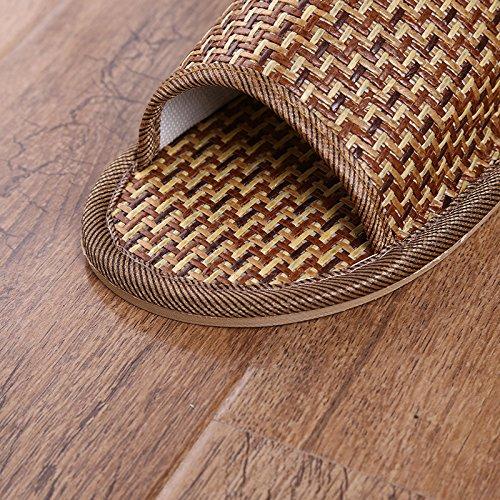 DHGH quelques naturel rafraîchissant marron tissé de modèles été Herbe rotin l'environnement de pantoufles de protection r7twqrp