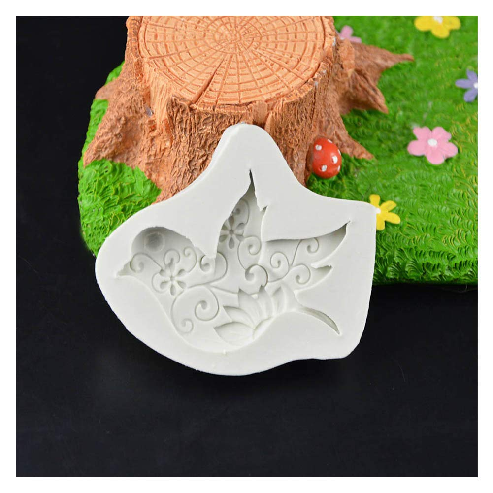 Bread Cake Mold, DIY Peace Dove Silicone Chocolate Handmade Fondant Pastry Mold Crafts Mould, 4 Pcs,Gray