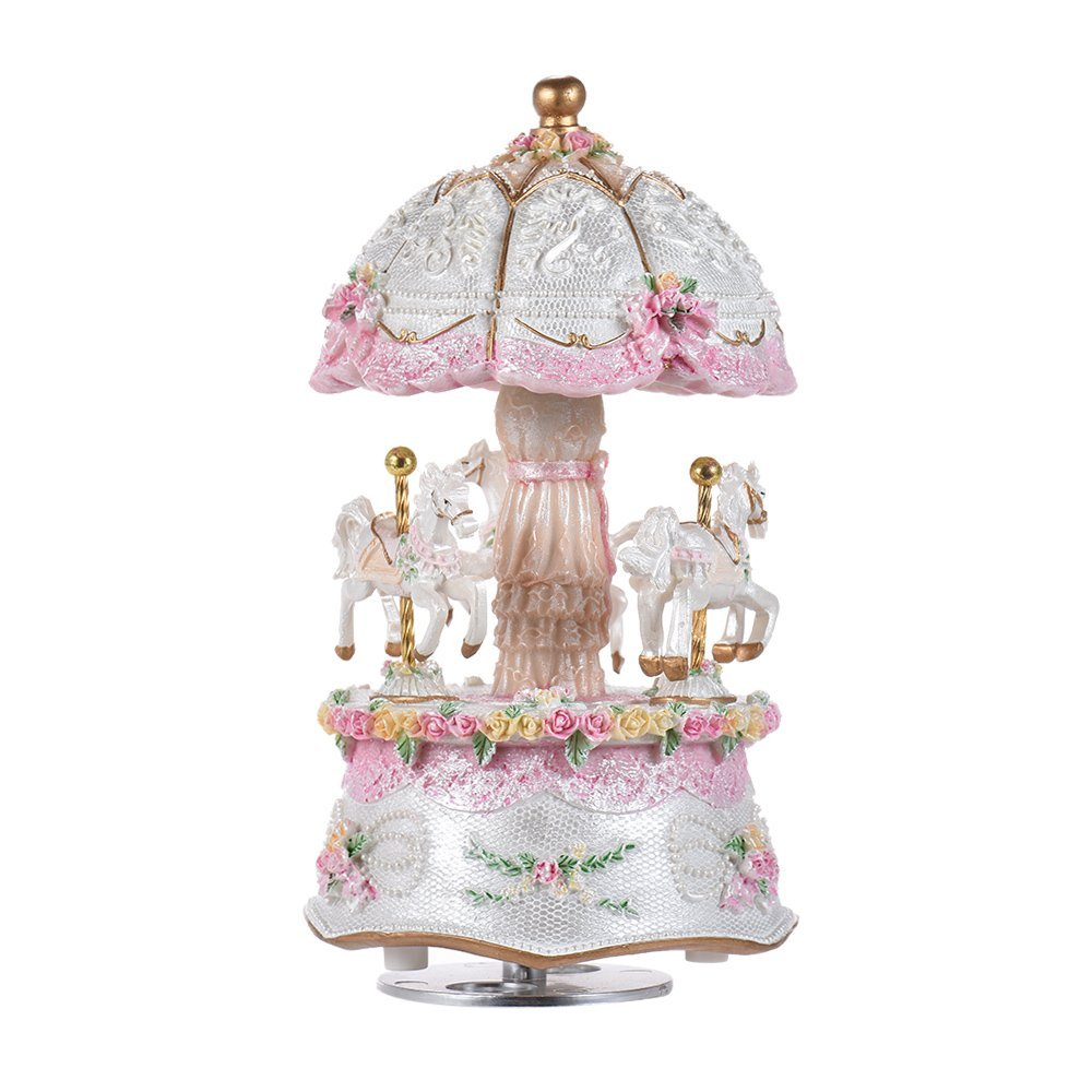 Music Box Carousel Color Change LED Luminous Light 3-Horse Rotating Windup Musical Gift Melody Castle in The Sky Artware Birthday Valentine Gift for Girls Baby Kids Daughter (with LED) by Musfunny
