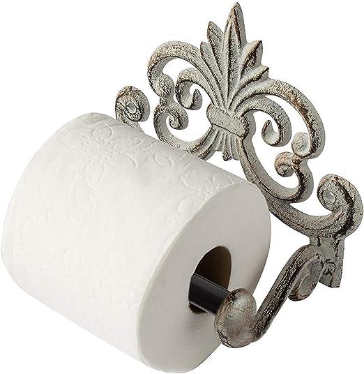 Shabby Chic Sturdy Metal Wall Mounting Bathroom Toilet Loo Roll Holder Black
