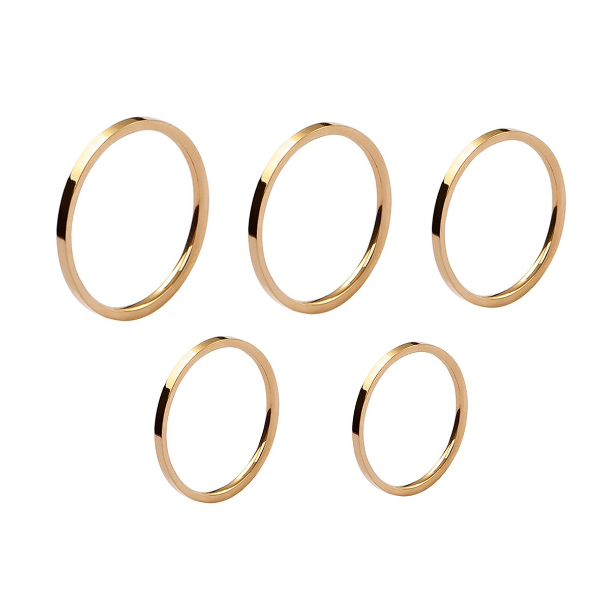 Velsinity Gold Stackable Rings Pack of 5 Joint Knuckle Rings Simple Round Circles