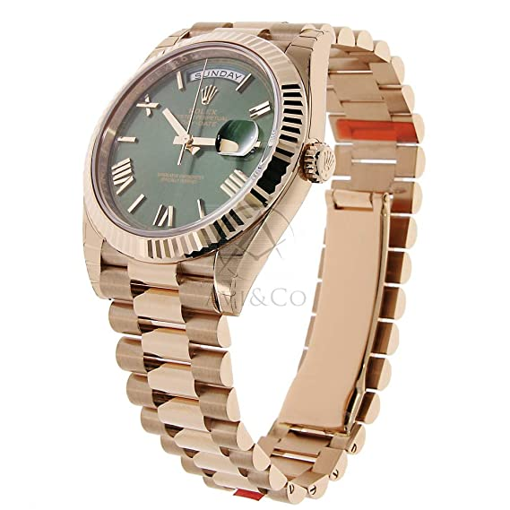 9639fb774fc Amazon.com  Rolex Day-Date 40 President Everose Gold Watch 228235 60th  Anniversary Green Dial  Watches
