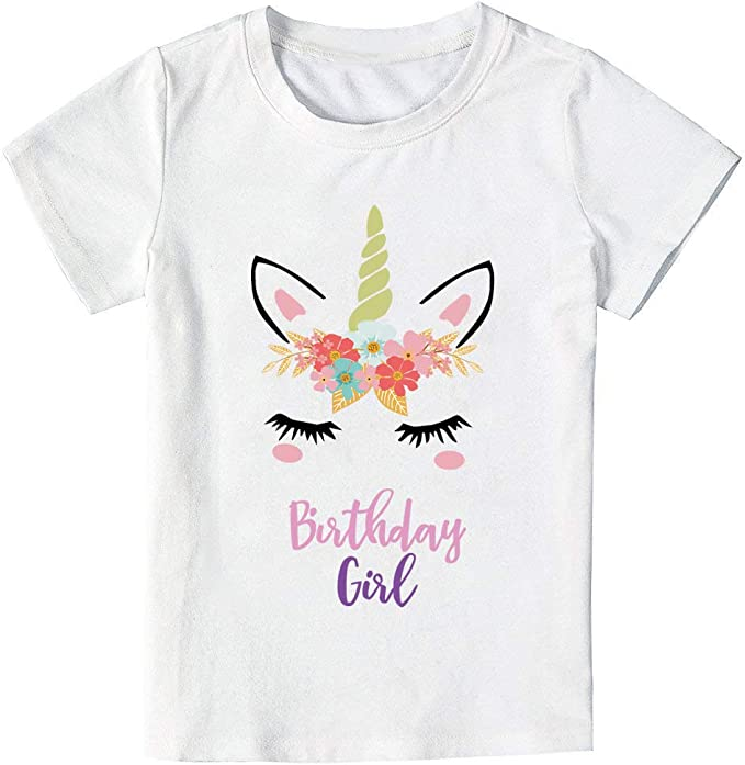 Amazon.com: Camiseta de unicornio de cumpleaños para niñas ...