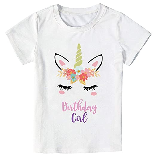 Unicorn Birthday T Shirt Outfit Gifts For Girls 5 6 Years