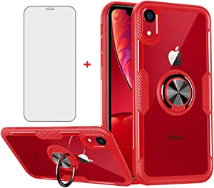 Phone Case for iPhone XR with Tempered Glass Screen Protector Clear Cover and Stand Ring Holder Cell Accessories Slim iPhoneXR iPhone10R i Phonex 10XR 10R 10 R RX CR iPhoneXR Cases Men Red
