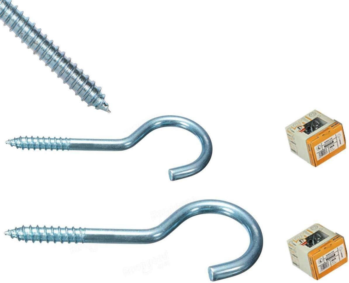 Stabile Schraubhaken Wandhaken in 3 verschiedenen Gr/ö/ßen Edelstahl Ringschraube Schraub/ösen Hakenschrauben verzinkt 15 St/ück 9 cm