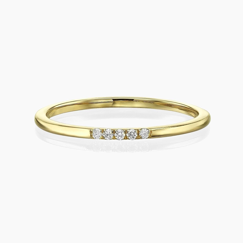 5 Diamonds Band,Thin Diamond Ring, Band with 5 diamonds, Diamond Band Ring, Bridal Jewelry, 1 mm Band Ring, Thin Wedding Band, 14K Yellow Gold Stacking Ring, Thin Ring