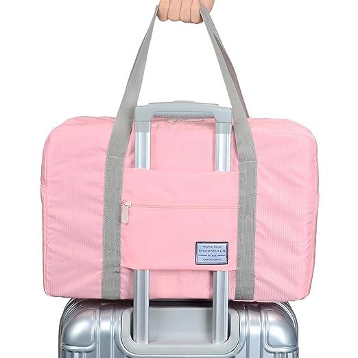 9c2470ada554 Arxus Travel Lightweight Waterproof Foldable Storage Carry Luggage Duffle  Tote Bag (Indi Pink)