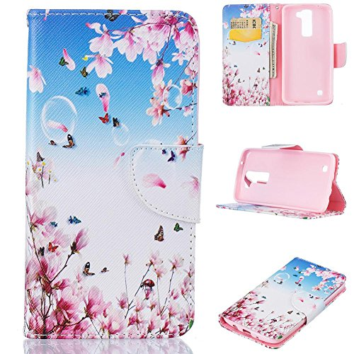 LG K7 Case, LG Tribute 5 Case, Firefish Kickstand PU Leather Wallet Case with Card Slots [Scratch-Resistance] Magnetic Closure Slim Bumper Cover for LG K7/LG Tribute 5 -Flower-C