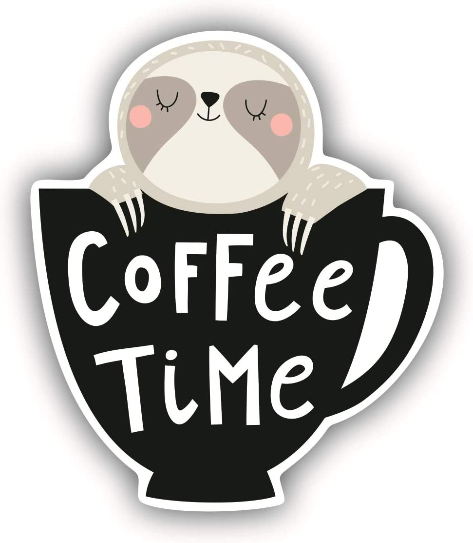 A&B Traders Sloth Coffee Time - Funny Stickers, Coffee Stickers, Coffee Cup Decal For Laptop Perfect Hydro Flask Stickers Coffee Art, 3.25 Inches Inspirational Quote Decals For Computers And Macbooks.