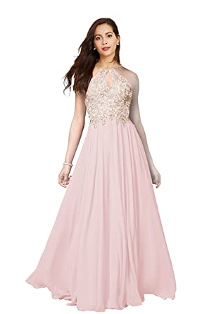 fc6d44f5e4e Image Unavailable. Image not available for. Color  Lily Wedding Womens  Halter Gold Applique Prom Bridesmaid Dresses 2019 Long Chiffon Evening ...