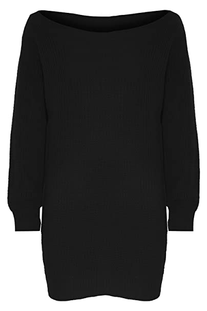 50c10a0d1c167b Womens Ladies One Off The Shoulder Chunky Knit Knitted Oversized Tunic  Sweater Jumper Dress Plus Size  Amazon.co.uk  Clothing