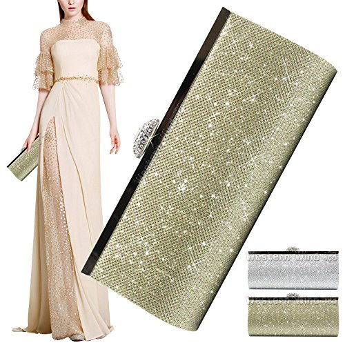 Clutch Evening Wocharm Bag Prom Gold Synthetic Silver Glitter Bridal Party Sparkly Handbag Black Gold Purse Fashion Womens CtnTtUBzq