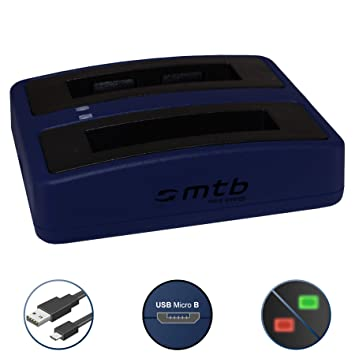 Cargador Doble (USB) para Xiaomi mijia Mini 4K Action CAM | para Tipo de bateria Xiaomi RLDC01FM - Cable USB Micro Incluido