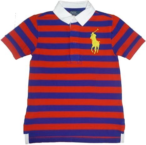 Ralph Lauren chaqueta para niño Polo T-camiseta con cuello de camisa azul y diseño de estampado a rayas polo con caballo grande jinete 110: Amazon.es: Bebé