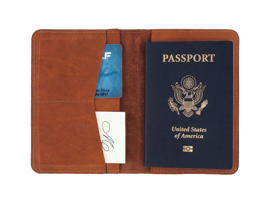 SLATE COLLECTION Sand Point Passport Holder, Full-grain Leather (Cognac) by SLATE COLLECTION