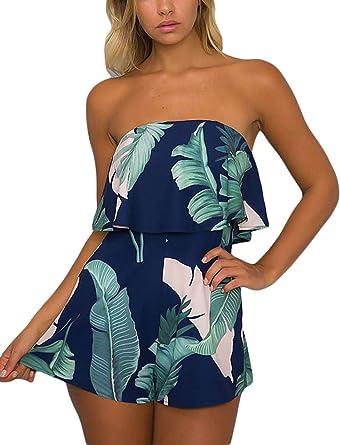 d5bca7fb4225 Amazon.com  Women Elegant Jumpsuits Tie Dye Palm Leaf Print Ruffle Flounce  Bandeau Rompers Shorts  Clothing