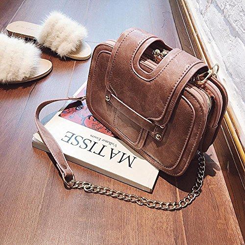 Aoligei Pequeño Bolso de múltiples Capas Vintage 100-lap Cadena Lateral pequeño Paquete Solo Hombro Oblicuo Bolso de la Manera A