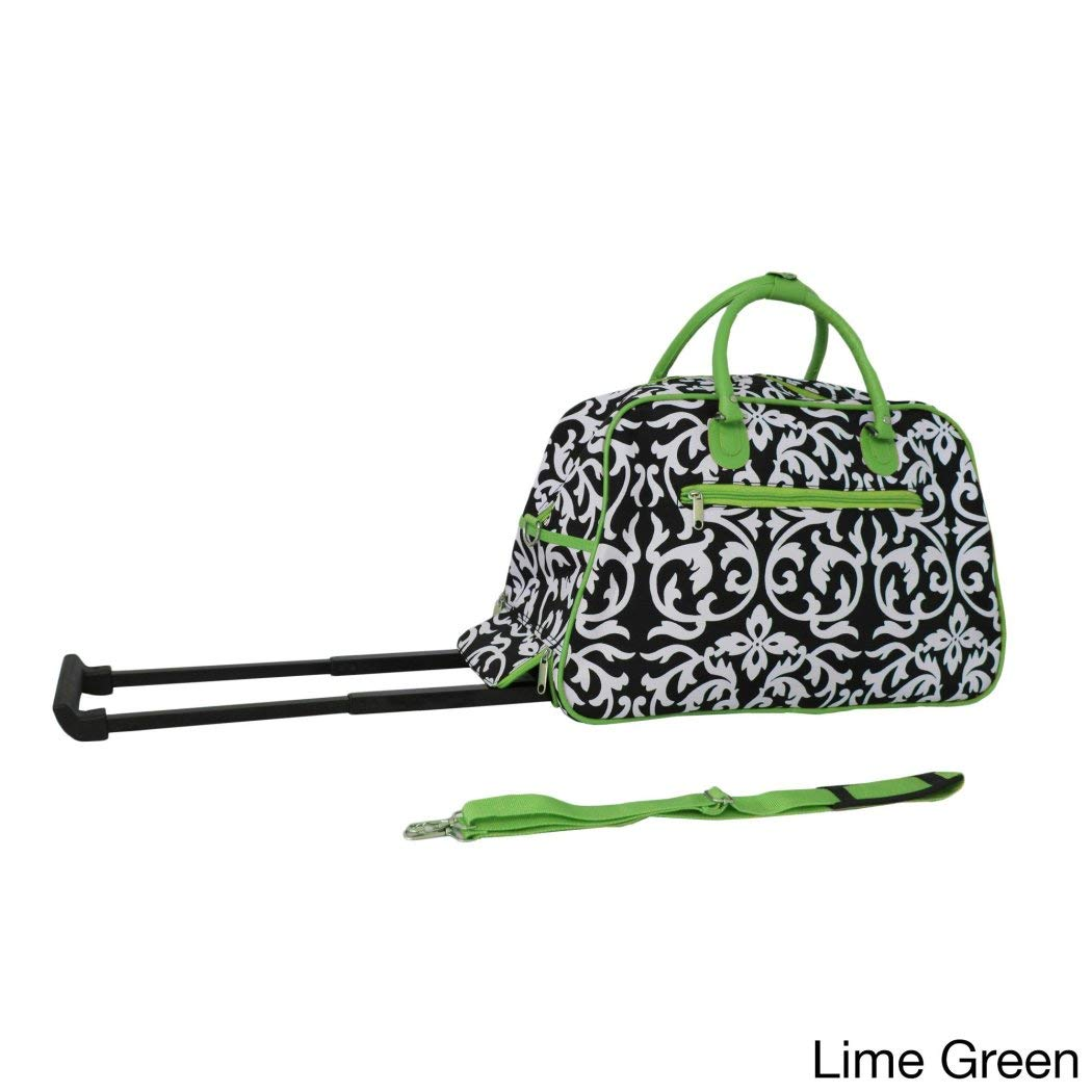 Lime Green Damask Duffle Bag 21inch MultiCompartment RollingSoftsided