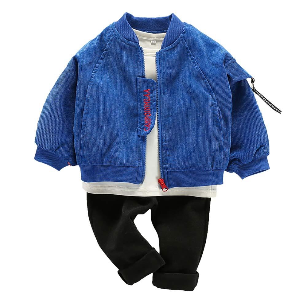 Little Boys' 3pcs Long Sleeve Coat Pants Clothes Set(Blue,5-6Years)
