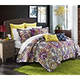 Chic Home Mumbai 8-Piece Reversible Comforter Set/Printed Luxury Bed-In-A-Bag, Queen