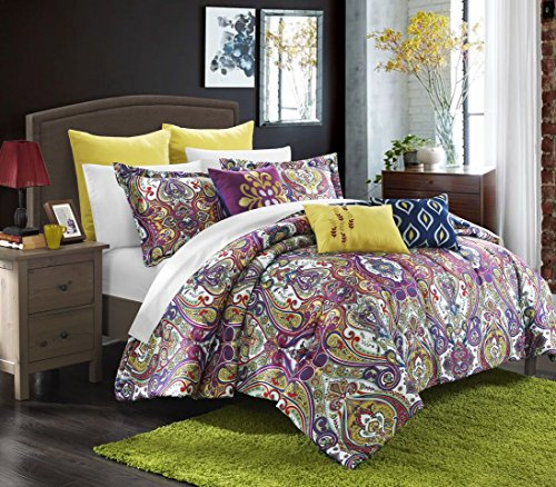 Chic Home Mumbai 8-Piece Reversible Comforter Set/Printed Luxury Bed in a Bag, King