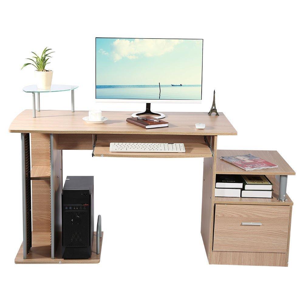 GOTOTOP Computer Desk Scrivania ufficio porta pc Tavolo, con Ripiani Tastiera Ripiano Scorrevole Tavoli riunioni (Colore Rovere Teak)