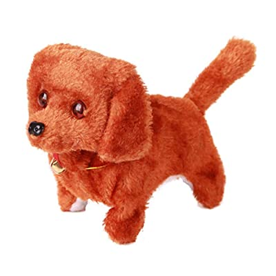 CUGBO Walking Barking Dog Plush Stuff Pet Puppy Kids Toy Sound and Light Electronic Dog Toy Gift,Battery Powered(Brown): Toys & Games