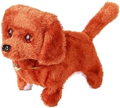 Cugbo Walking Barking Dog Plush Stuff Pet Puppy Kids Toy Sound And Light Electronic Dog Toy Giftbattery Poweredbrown