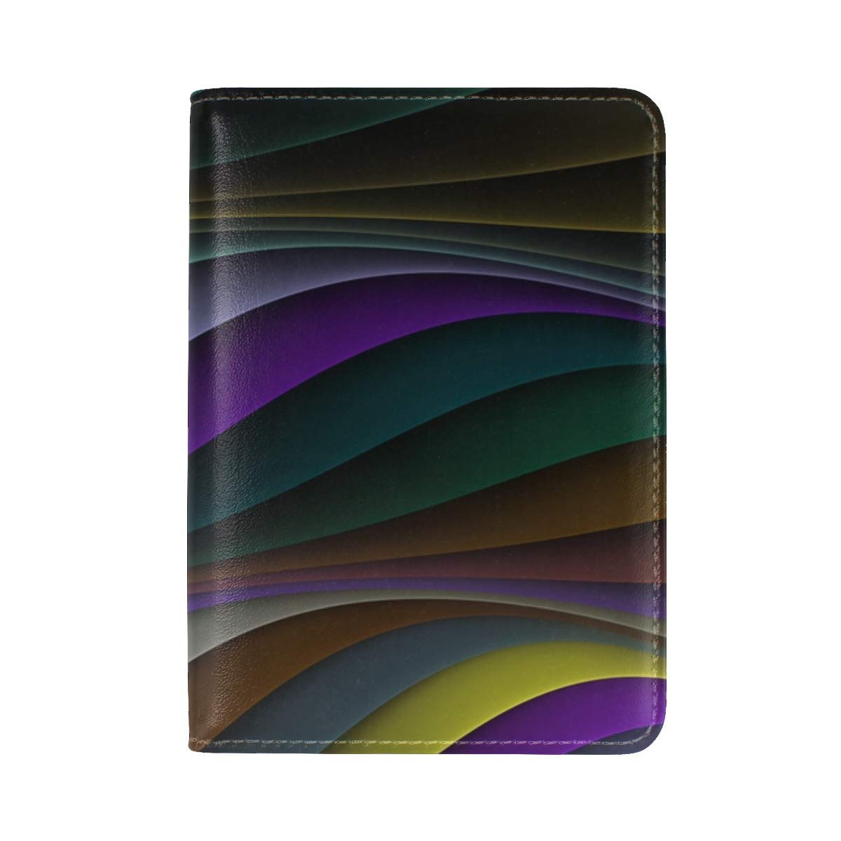 Lines Stripes Colorful Leather Passport Holder Cover Case Travel One Pocket