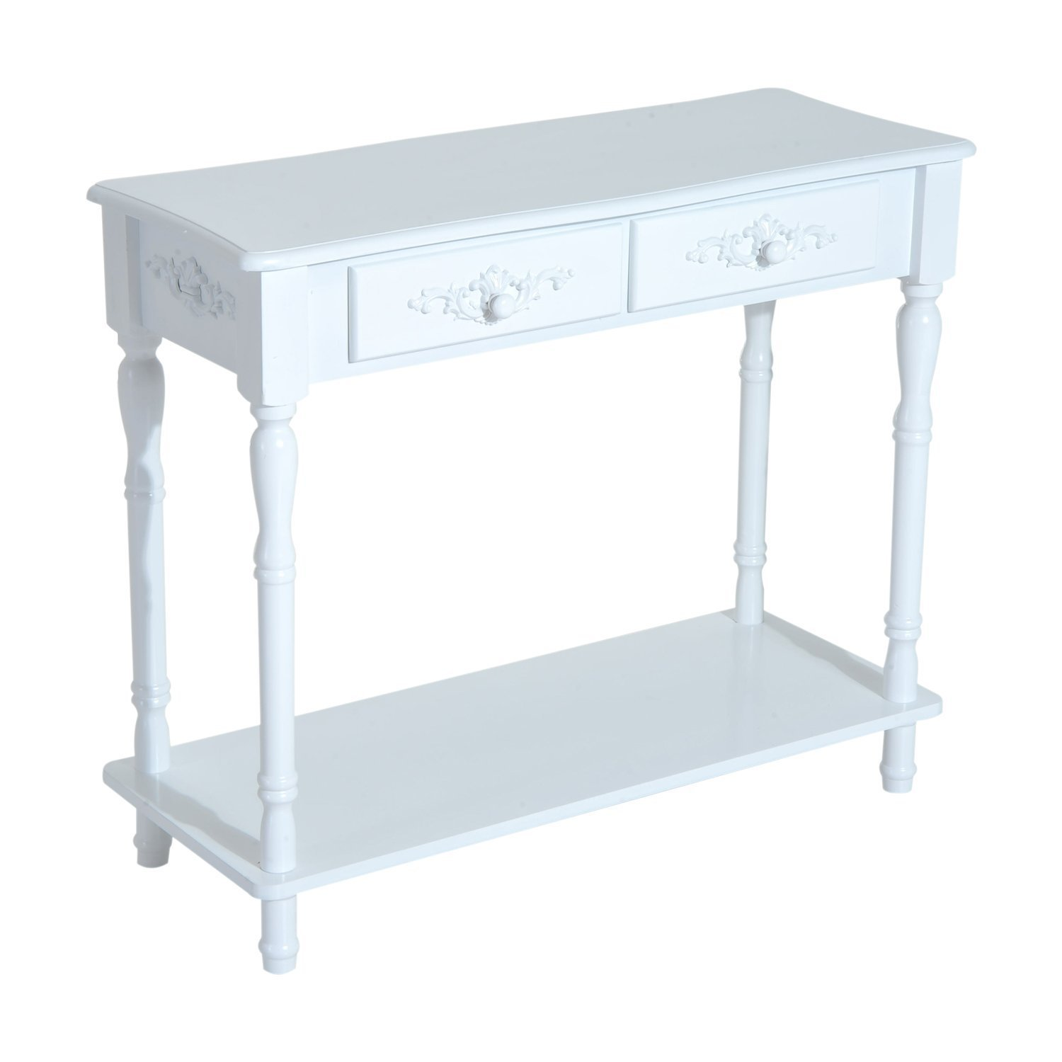 HOMCOM 28 H Modern Country 2 Drawer Wooden Entryway Console Table – Glossy White