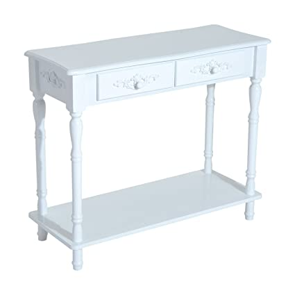 HomCom Wood 2 Drawer Traditional Entryway Console Table   White