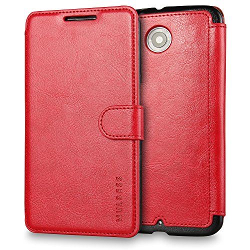 Nexus 6 Case Wallet,Mulbess [Layered Dandy][Vintage Series][Wine Red] - [Ultra Slim][Wallet Case] - Leather Flip Cover With Credit Card Slot for Motorola Google Nexus 6