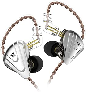 in-Ear Monitors, KZ ZSX 1DD+5BA Hybrid HiFi Stereo Noise Isolating Sport IEM Earphones/Earbuds/Headphones with Detachable Cable for iPhone, iPad, Android, Computer (Without MIC, Black)