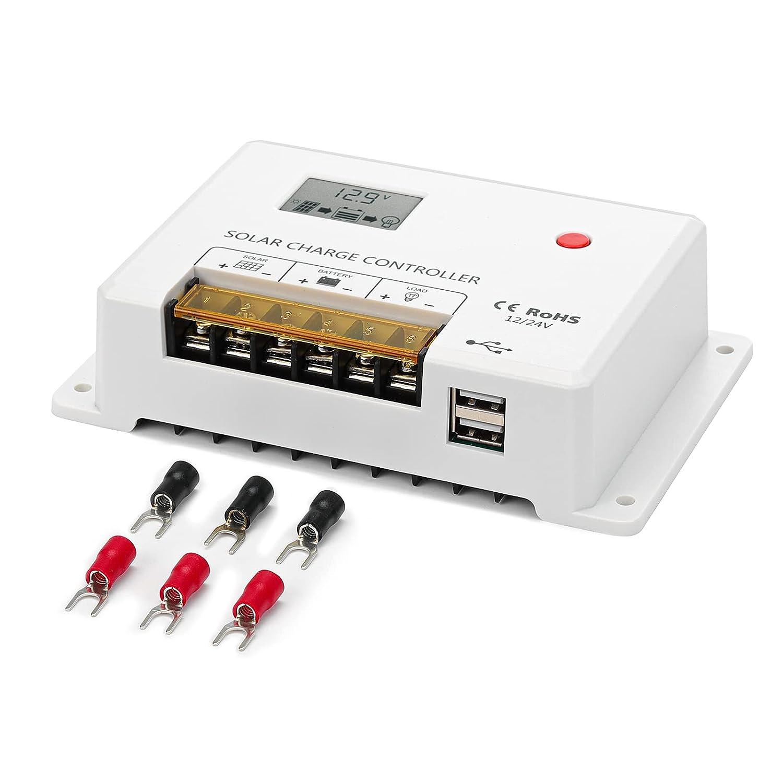 BougeRV 30Amp 12V/24V PWM Solar Charge Controller