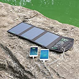 ALLPOWERS 12W Portable Foldable Solar Charger Panel with iSolar Technology for iPhone 6 plus 5s 5c 5 4s 4, ipad mini, Samsung Galaxy S5 S4 S3, Blackberry and Other USB Compatible Devices