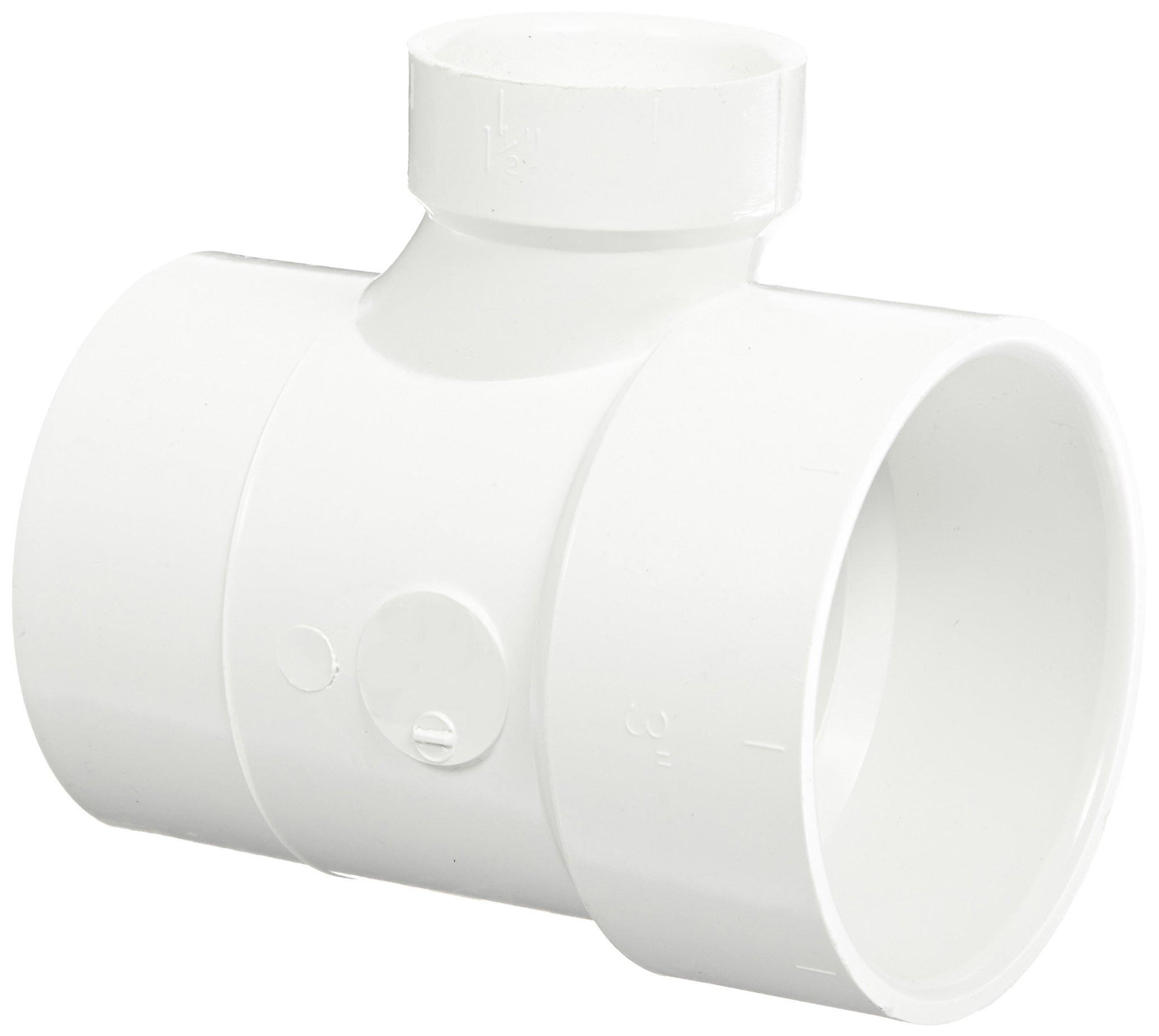 Spears P404 Series PVC DWV Pipe Fitting, Reducing Sanitary Tee, 3'' Spigot x 3'' Hub x 1-1/2'' Hub