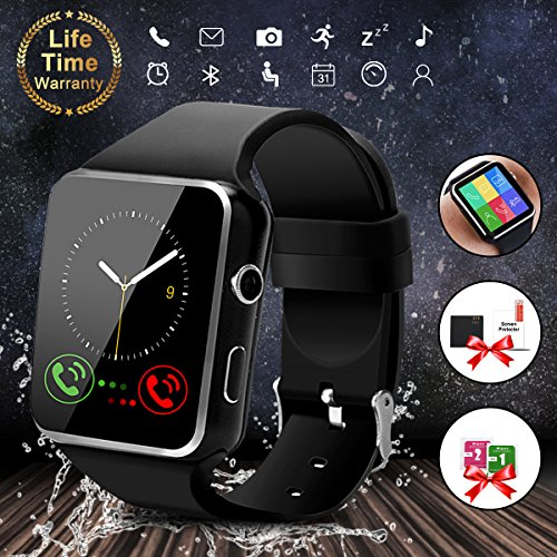 Smart Watch,Bluetooth Smartwatch Touch Screen Wrist Watch with Camera/SIM Card Slot,Waterproof Smart Watch Sports Fitness Tracker Compatible with Android iOS Phones Samsung Huawei (X6-Black)