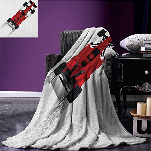 Cars Patterned blanket Formula Car on Speedway Championship Fast Performance Rally Strong Vehicle beach blanket Red Black Pale Gray size:59